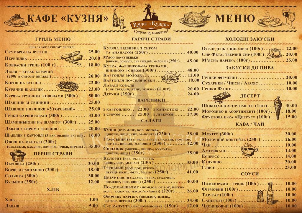 Кузня Браницьких_меню
